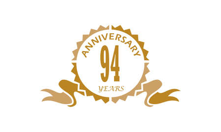 94 Years Ribbon Anniversary Vector illustration. Illustration