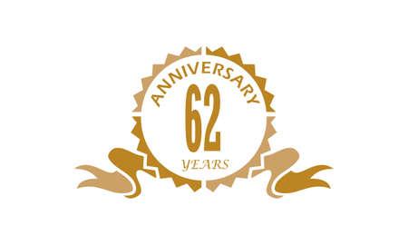 62 Years Ribbon Anniversary Vector illustration.