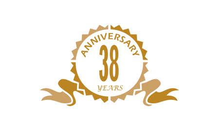 38 Years Ribbon Anniversary Vector illustration.