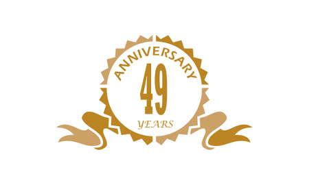 49 Years Ribbon Anniversary  Vector illustration.