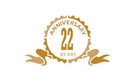 22 Years Ribbon Anniversary Vector illustration.