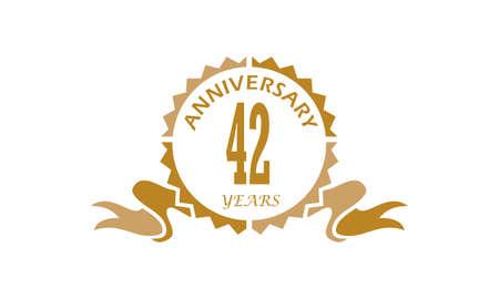 42 Years Ribbon Anniversary Illustration