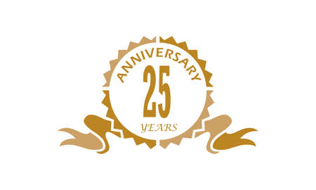 25 Years Ribbon Anniversary Vector illustration.