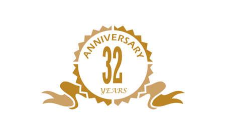32 Years Ribbon Anniversary Vector illustration. Illustration