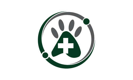 Veterinary Wellness dog paw symbol icon design. Ilustracja