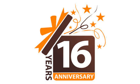 16 Years Gift Box Ribbon Anniversary. Stock fotó - 92405192