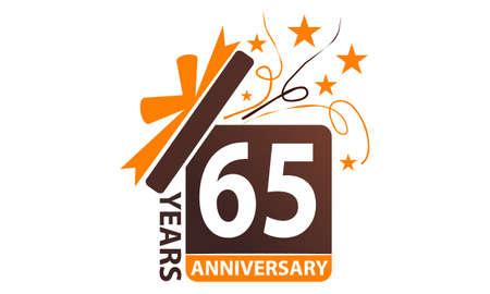 65 Years Gift Box Ribbon Anniversary.