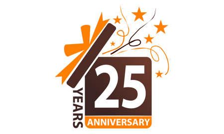 25 years gift box ribbon anniversary icon illustration. Illustration