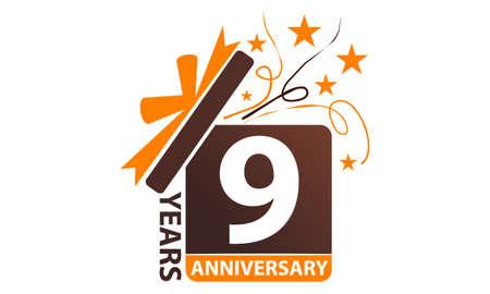 9 years gift box ribbon anniversary icon illustration.