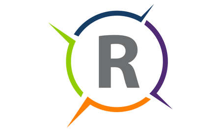Synergy solution process letter R illustration. Illustration