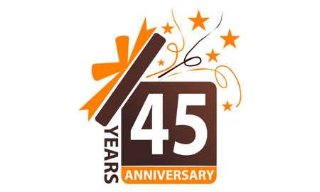 45 Years Gift Box Ribbon Anniversary. Illustration