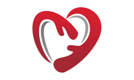 Hand Love Ribbon Health icon design.