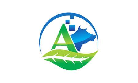 Leaf initial A icon design.