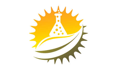 Sun leaf and laboratory flask icon design.