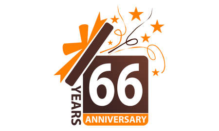 66 Years Gift Box Ribbon Anniversary. Illustration