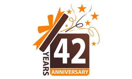 42 Years Gift Box Ribbon Anniversary.