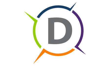 Synergy Solution Process Letter D icon design.