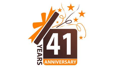 41 Years Gift Box Ribbon Anniversary. Illustration