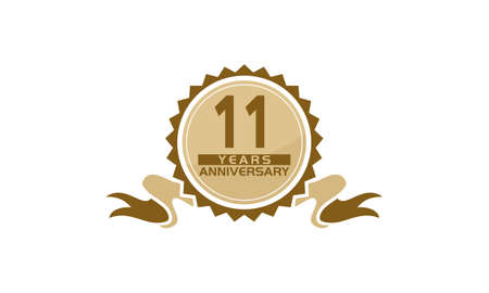 11 Years Ribbon Anniversary vector illustration.