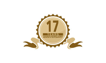 17 Years Ribbon Anniversary vector illustration.