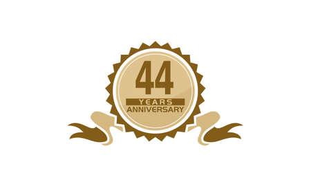 44 Years Ribbon Anniversary vector illustration.