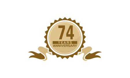74 Years Ribbon Anniversary vector illustration. Illustration