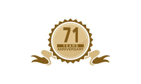 71 Years Ribbon Anniversary vector illustration.