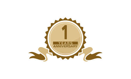 1 Years Ribbon Anniversary vector illustration. Illustration