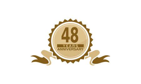 48 Years Ribbon Anniversary vector illustration.