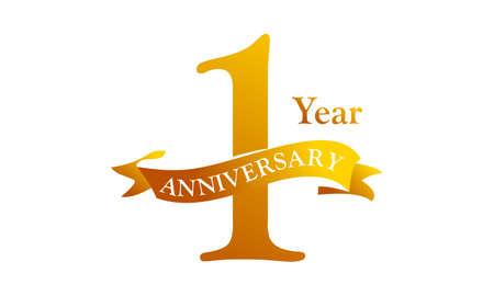 1 Ribbon Anniversary Logo Design Template Vector Illustration