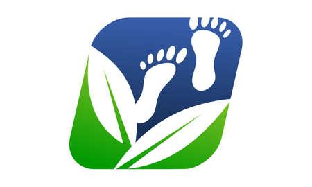 Foot Massage Herbal Design Template Vector