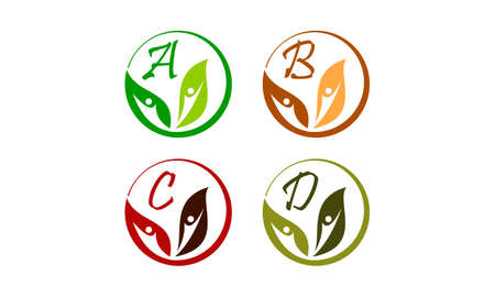 Leaf health nutrition initial A, B, C, D icon vector illustration. Ilustração