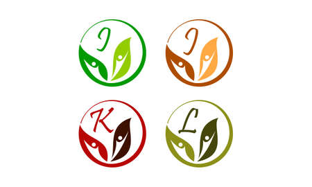 Leaf health nutrition initial I, J, K, L icon vector illustration.