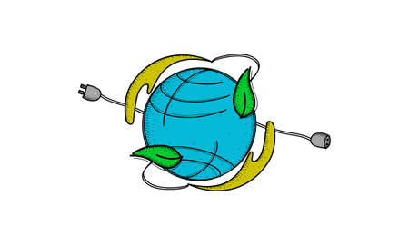 Earth Hour concept with Earth, plug and leaf design in colored illustration.
