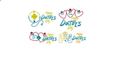 Happy Doctors Day Template Set Vector illustration.