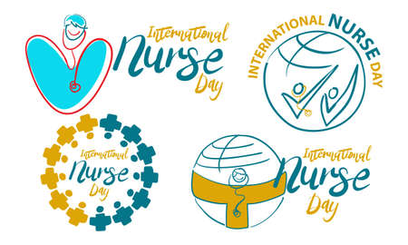International Nurse Day Template Set Vector illustration. Illustration