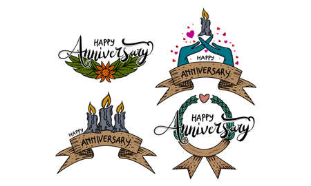Happy Anniversary Template Set Illustration