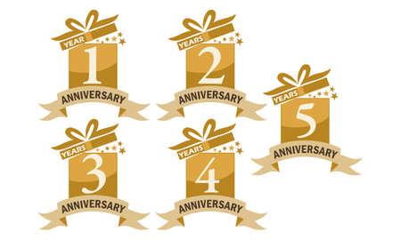 Year Gift Box Ribbon Anniversary Set Vectores