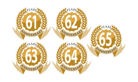 Ribbon 61st to 65th anniversary leaf template set illustration.
