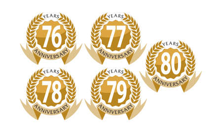Ribbon 76th to 80th anniversary leaf template set illustration.