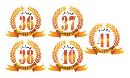 Ribbon 36th, 37th, 38th, 40th and 41st anniversary leaf template set illustration.