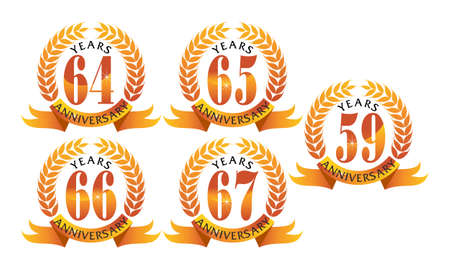 Ribbon 59th, 64th, 65th, 66th and 67th anniversary leaf template set illustration.