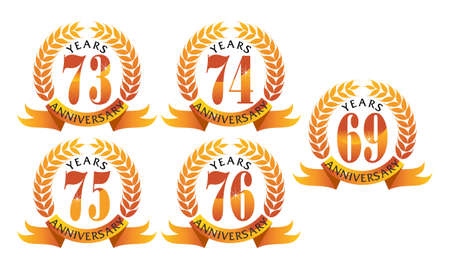 Ribbon 69th, 73rd, 74th, 75th and 76th anniversary leaf template set illustration. Illustration