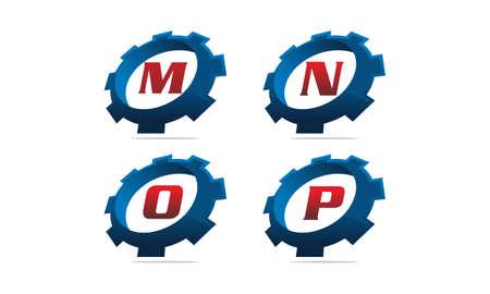 Gear letter M, N, O, P solution template design set illustration.
