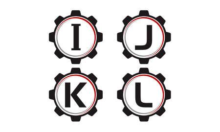 Gear letter I, J, K, L solution template design set illustration. Illustration