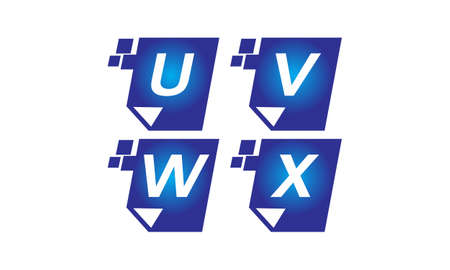 Digital paper letter U, V, W, X template design set illustration.