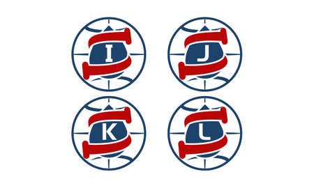Water oil pipes world  letter I, J, K, L template design set illustration. Ilustração