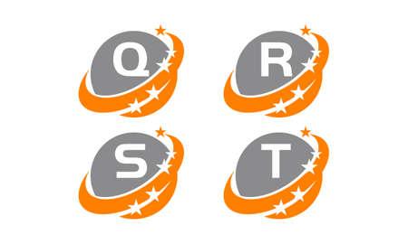 Success solution letter Q, R, S, T template design set illustration. Illustration