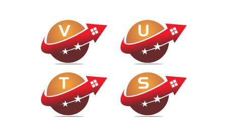 Real estate letter V, U, T, S solution set illustration.