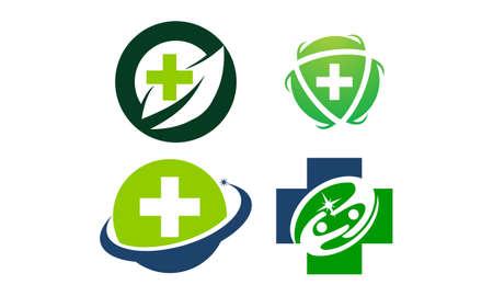 Health center template  design set illustration. Иллюстрация